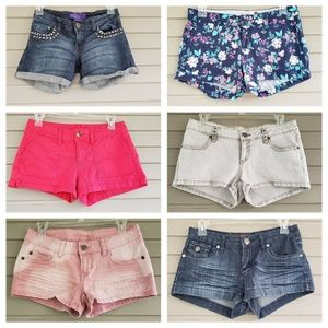 Group of 6 Pairs of Shorts Size 3 Pink Floral Stud